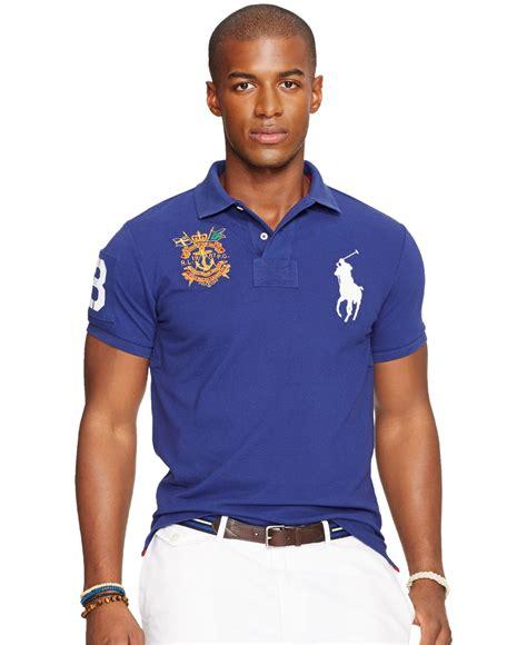 Polo Shirt Polo Raphl Custom Tshirt Polo lyst polo ralph custom fit big pony mesh polo shirt in blue for