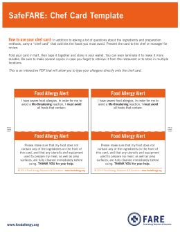 safefare chef card template allergy food allergy assessment