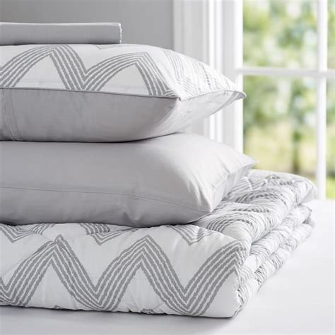 light gray bedding zig zag stripe value comforter set light gray pbteen