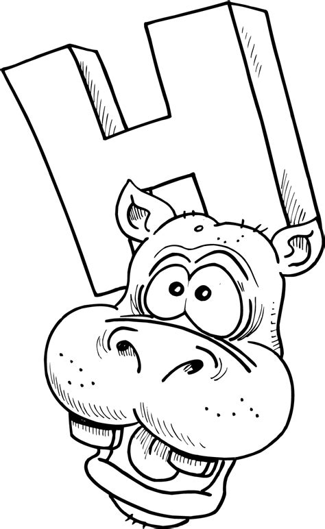 letter h coloring pages for toddlers colouring page of letter h with a hippo coloring point
