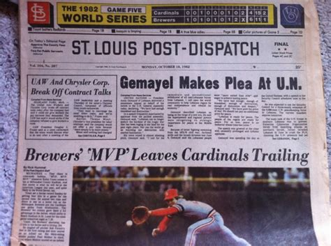 st louis post dispatch st louis sports news yellowing headlines from cards 1982 run sports