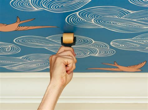 how to hang wallpaper on a ceiling how tos diy how to wallpaper a ceiling hgtv