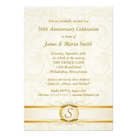 Gold Ivory Damask Th  Ee  Anniversary Ee   Invitation