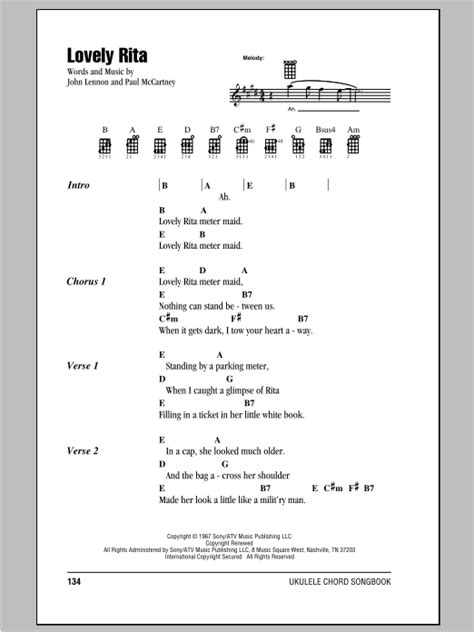 strumming pattern love yourself lovely rita sheet music by the beatles ukulele with