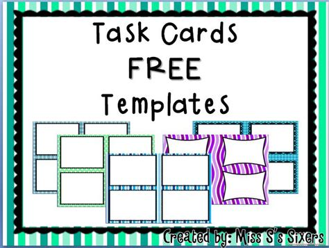 Template For Task Cards Doc by This Set Comes With 5 Different Files Saved As Png For You