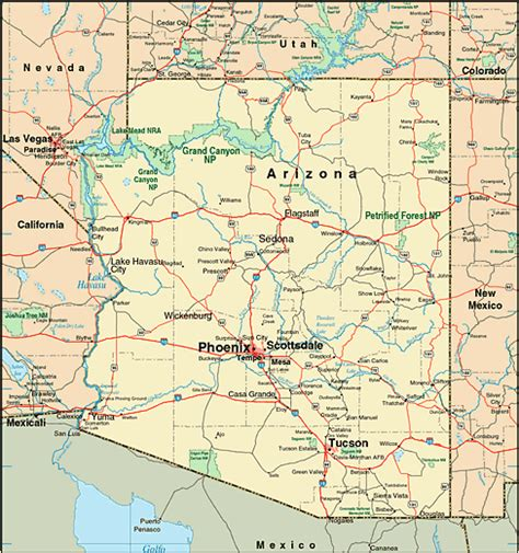 arizona on the united states map arizona map and arizona satellite images