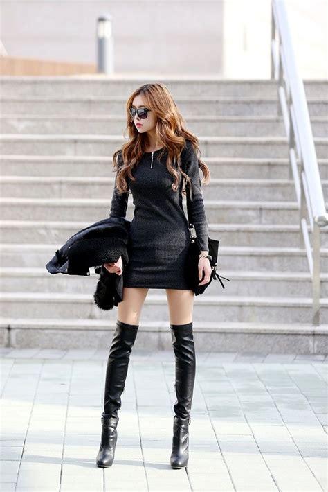 Kpop Zipeer corrugated neck zip dress black korean hair knee highs legs whew black