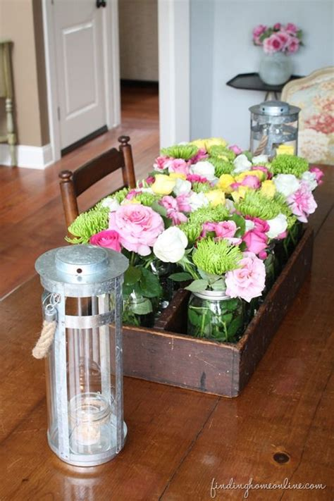 Decorating Ideas The Evolution Of A Dining Room Jars Dining Table Centerpieces Flowers