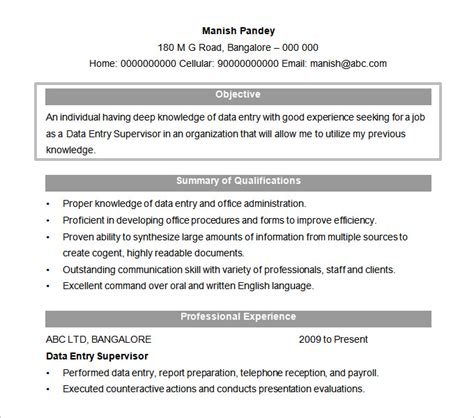 resume template with objective resume objectives 46 free sle exle format