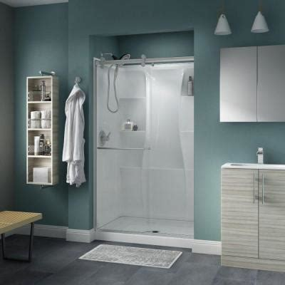 Delta Shower Door Delta Simplicity 48 In X 71 In Semi Framed Contemporary Style Sliding Shower Door In Nickel