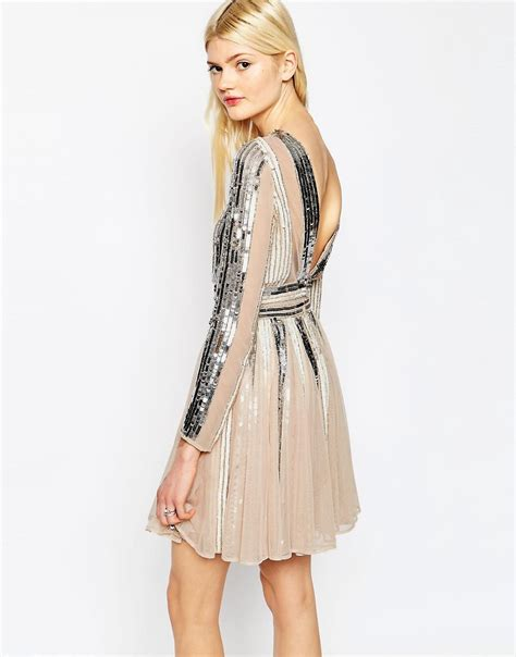 Asos Striped Dress asos asos sequin stripe fit and flare mini skater dress