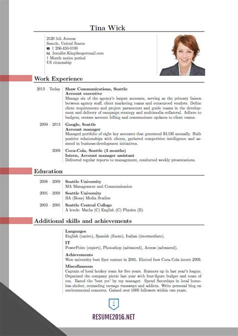 Current Resume Format 2016 by Resume Format Curriculum Vitae Sles Pdf Template