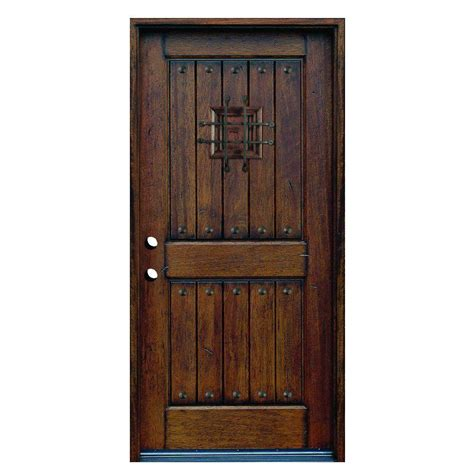 Solid Wood Doors Exterior 36 In X 80 In Rustic Mahogany Type Stained Distressed Solid Wood Speakeasy Prehung Front Door