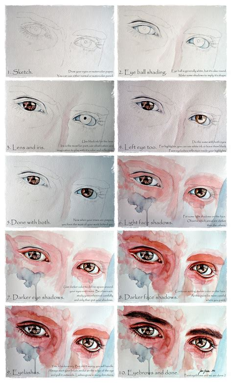 Tutorial Drawing Watercolor | watercolor eyes in flesh tone tutorial by jane beata on