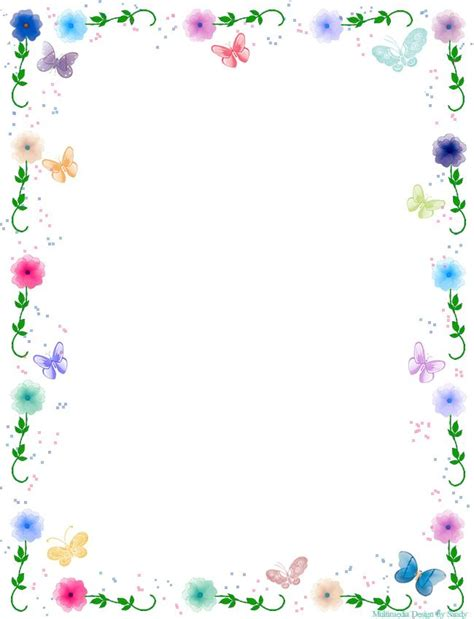 pink flower and butterflies border printables fonts