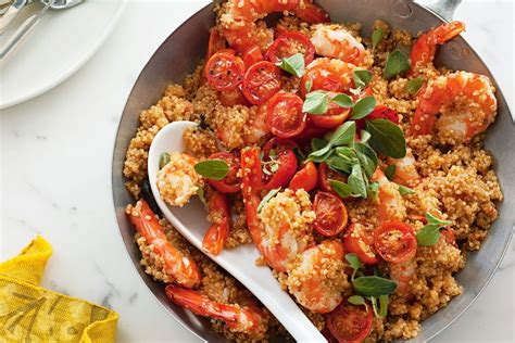 delicious cuisine quinoa risotto with prawns oregano and tomatoes recipes