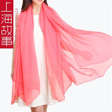 pleated solid color silk scarf chiffon scarf ultralarge
