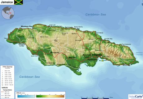 physical map of jamaica schafer latinamerica jamaica geography