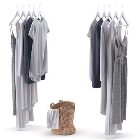 Bag Hanger 3d clothes on hangers and a laundry basket with linens 3d