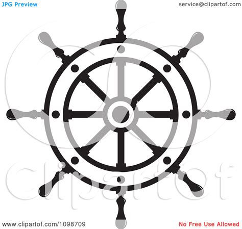 boat wheel outline helm cliparts