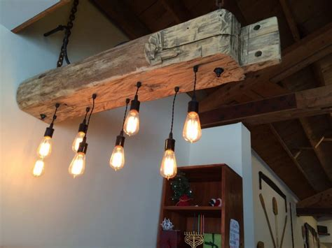 Wood Beam Light Fixture rustic wood light fixture with reclaimed beam id lights