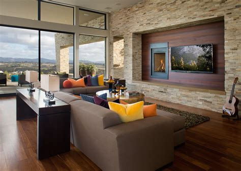 contemporary living room with stacked stone accent wall 30 beautiful ideas for living room wall decor 18510
