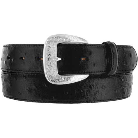 tony lama western mens belt leather black ostrich made in