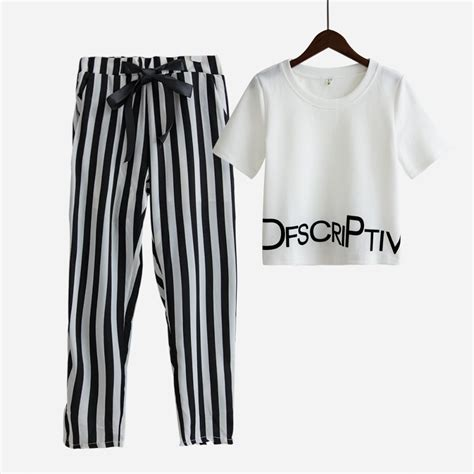 Crop Tops Fashion Letter Printed T Shirt fashion 2 sets suit crop tops letters print t shirt stretchy striped harem