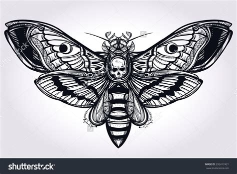 death head moth tattoo deaths hawk moth silhouette design