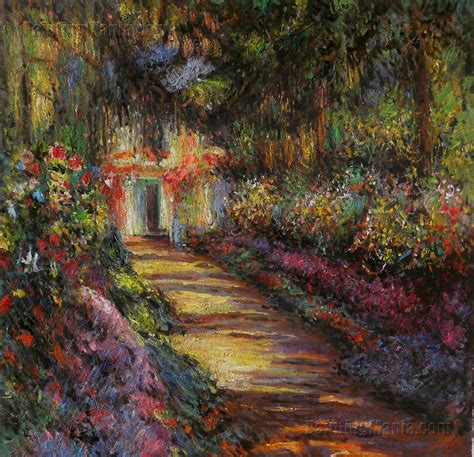 Monet In The Garden by Pathway In Monet S Garden At Giverny Claude Monet Paintings