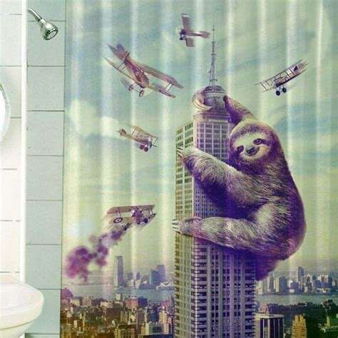 Slothzilla Shower Curtain by 31 Best World Map Shower Curtain Images On