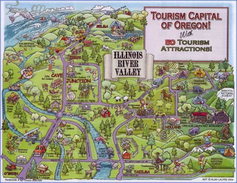 oregon attractions map oregon map tourist attractions map travel