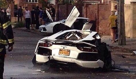 crashed white lamborghini lamborghini aventador splits in half following crash in