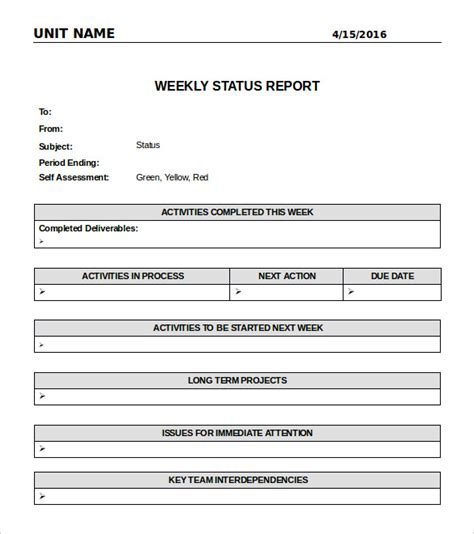 simple status report template weekly status report template cyberuse