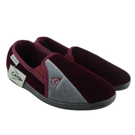 gents slippers uk mens boys dunlop velour luxury gusset slipper gents
