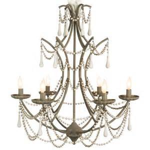 Rustic Country Chandelier Bourdeilles Country White Beaded Rustic Chic