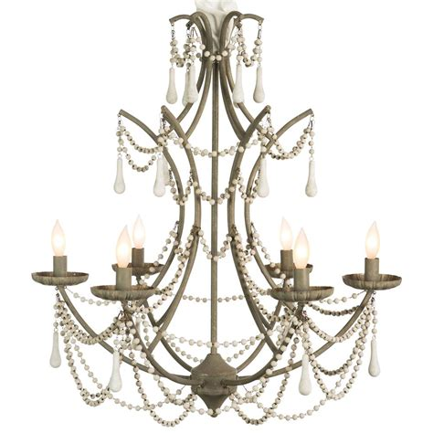 Rustic Chic Chandelier bourdeilles country white beaded rustic chic chandelier kathy kuo home