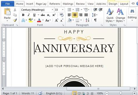 how to create a printable anniversary gift certificate