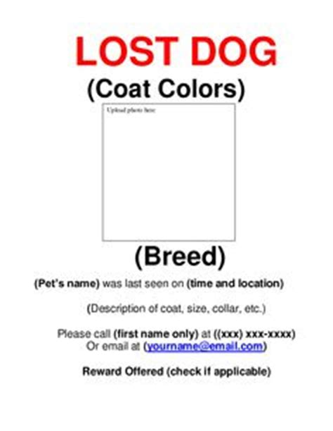 lost pet template lost pet poster writing frames blank sb4250