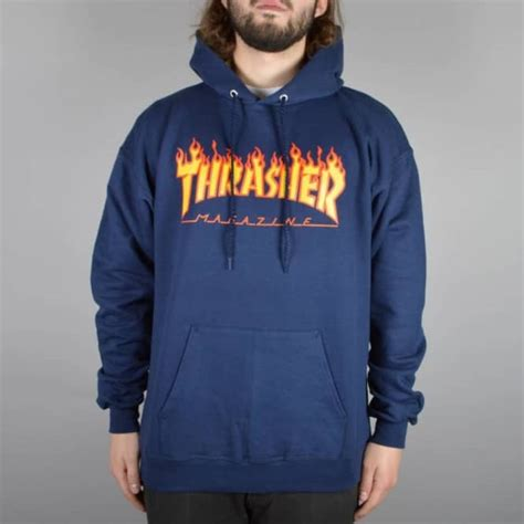Hoodie Thrasher Jaket Thrasher Sweater Thrasher thrasher flames hoodie navy skate clothing from skate store uk