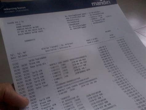 contoh rekening koran mandiri service laptop