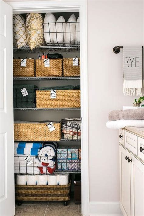 bathroom linen closet ideas organized linen closet transitional bathroom