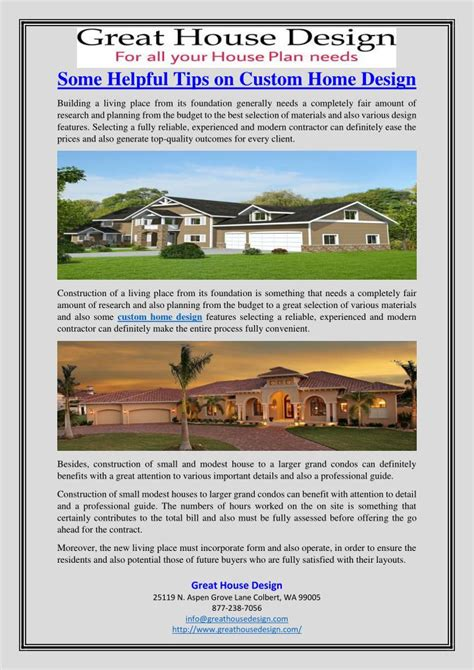 custom home design tips ppt some helpful tips on custom home design powerpoint