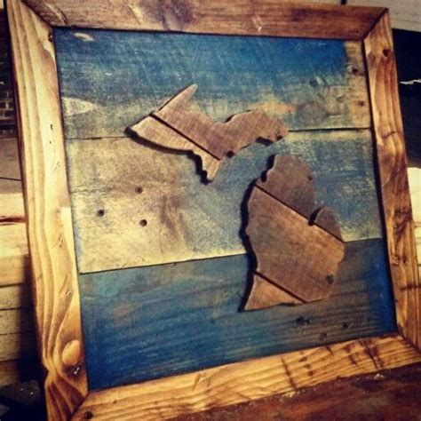 michigan pallet wood art  upcycled woodworks wwwetsy