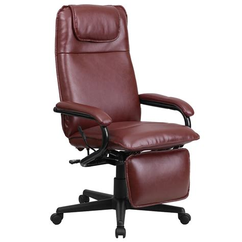 Reclining High Chair From Birth by Ergonomic Home High Back Burgundy Leather Executive