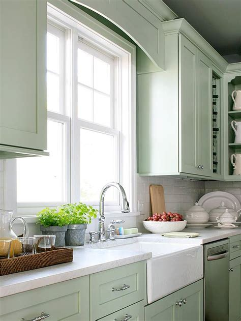 green kitchens mint green cabinets cottage kitchen bhg