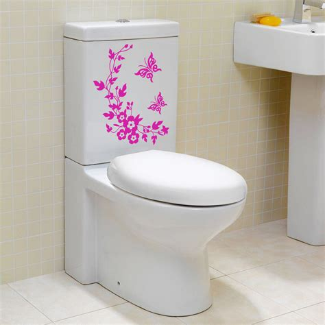 bathroom wall appliques bathroom toilet decorative sticker butterfly flower vine