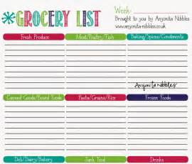 Shopping List Template Uk Anyonita Nibbles Free Grocery List Amp Meal Planner