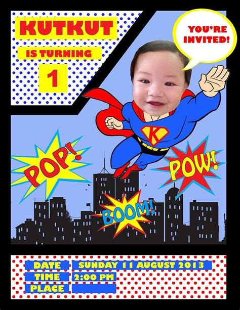 superman layout invitation noob did this on my own for my godson s 1st birthday