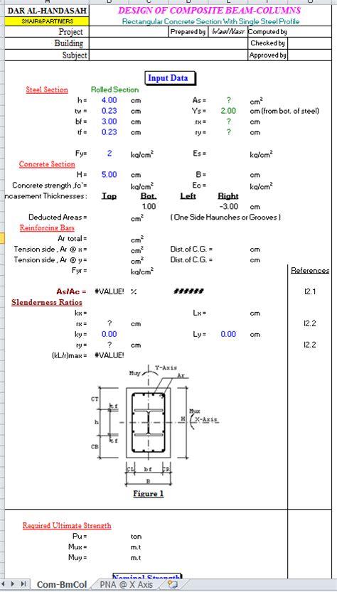 pattern composite exle composite rectangular beam and columns spreadsheet